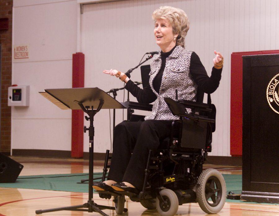 Quadriplegic+Joni+Eareckson+Tada+speaks+in+chapel+on+Wednesday%2C+Sept.+19.