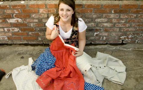 Junior Claire Andrews shows off her homemade dresses. Some are from scratch while others are just from second hand stores and have been creatively altered to match her personality.