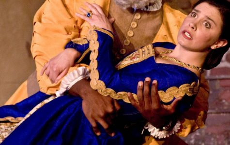 Donte Apperwhite as Falstaff and Melissa Batalles as Mrs. Ford star in Biola's production of