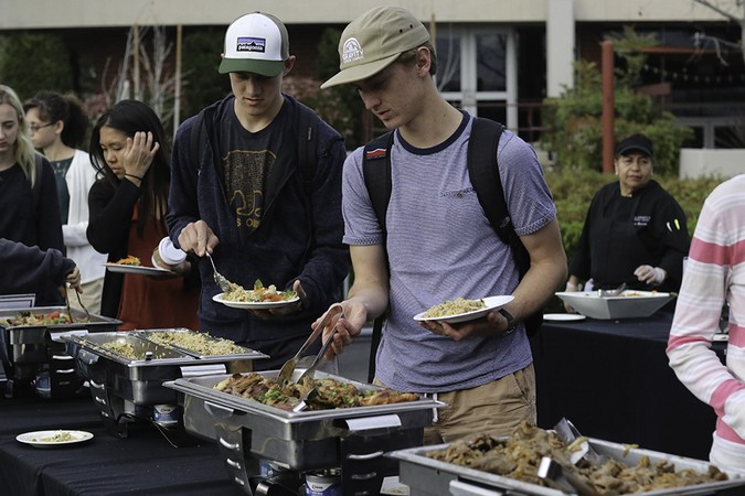 Students in line for food