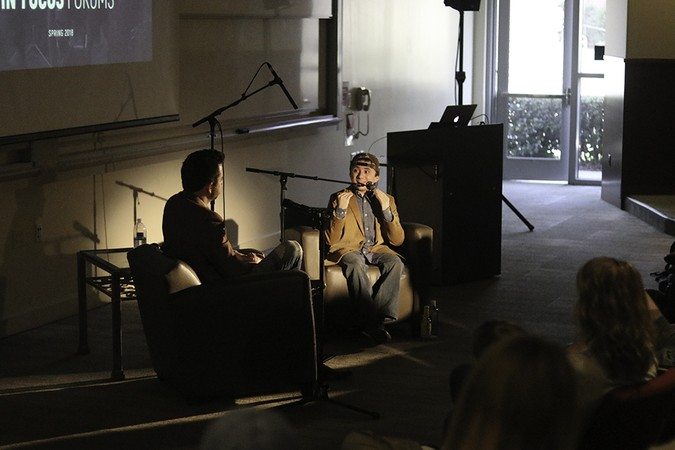 Actor Atticus Shaffer shares his experiences as a Christian navigating a secular field during a live recording of a podcast made in conjunction with the department of cinema and media arts on Feb. 3.