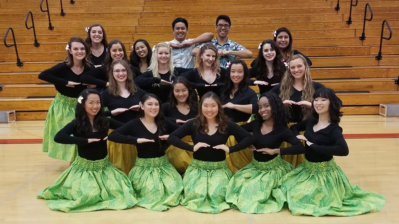 Performers from the Hula Halau club pose in Chase Gymnasium after Monday's chapel.