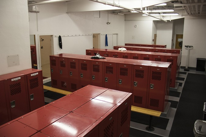The men's locker room