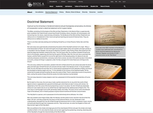 A screenshot of the doctrinal statement