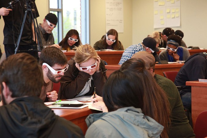 Students and other attendees participate together in activities to increase their knowledge, appreciation and empathy for diverse viewpoints during one of the many workshops for SCORR Conference in 2016.