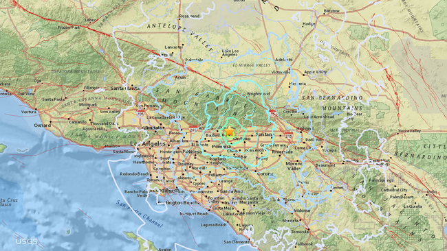 Map of southern california earthquake graph