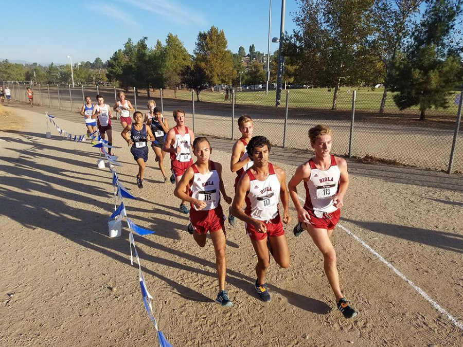 Biola track members lead the race during the meet