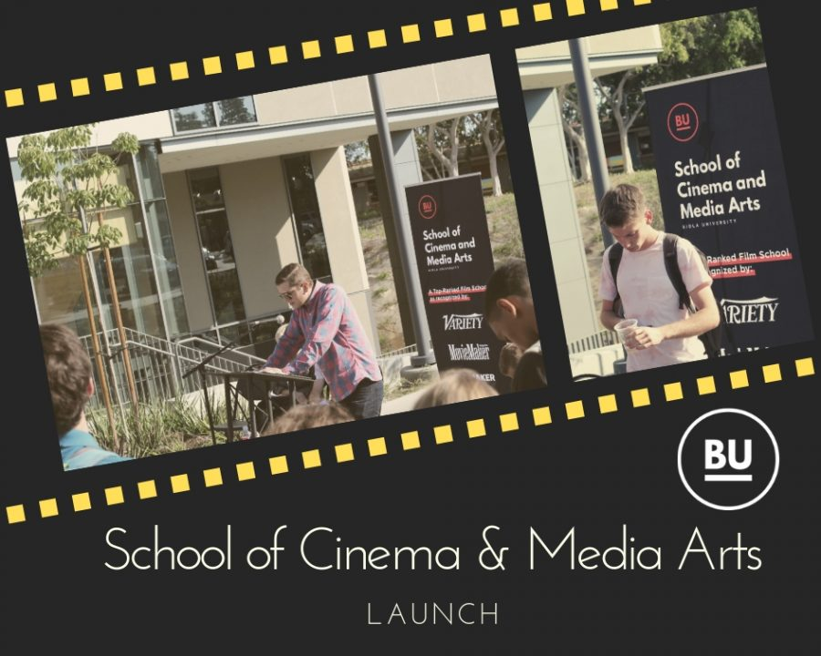 School of Cinema and media Arts Launch; speaker and praying student