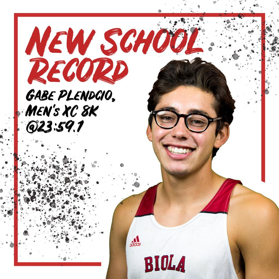 Junior Gabe Pledcio raced into the Biola cross country record books with a blistering 23:59.1 time in the men's 8k at the Santa Clara Bronco Invitational on Oct. 13.