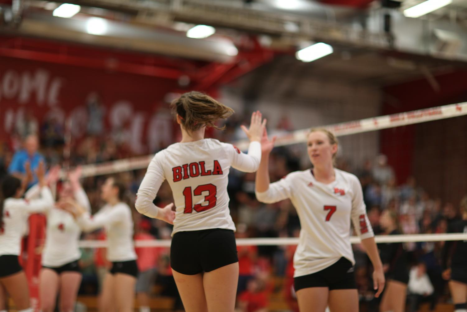 Junior libero Kaitlin O'Brien subs in for senior opposite hitter Karly Dantuma in this file photo from Oct. 3, 2018.