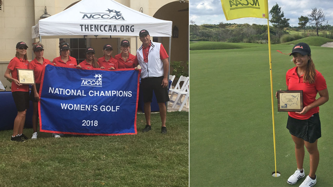 Left: The women's golf team poses with their NCCAA championship banner on Oct. 24, 2018. Right: Freshman Sami Penor poses with a plaque celebrating her individual title in the 2018 NCCAA women's golf championships.
