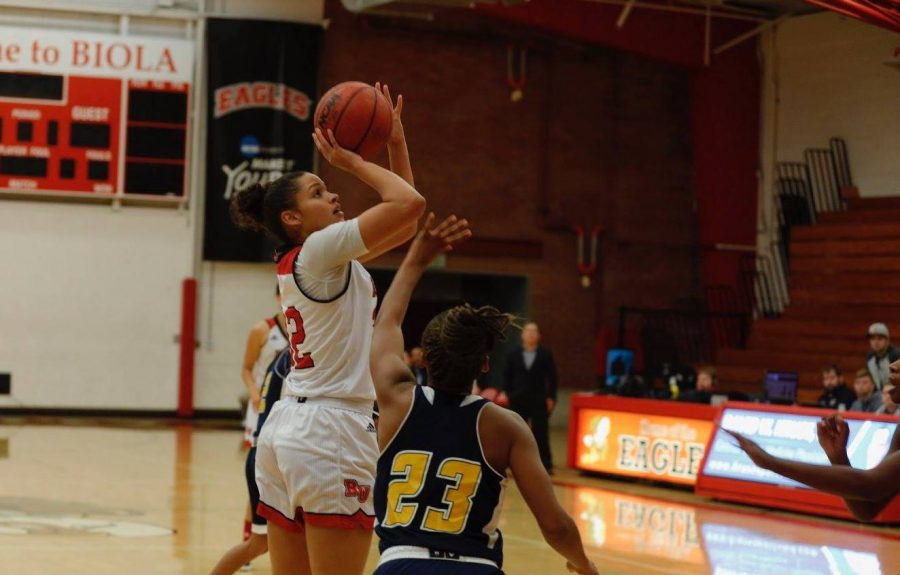 Mikayla Greens shoots over a defender during the Eagles' win over La Sierra on Nov. 17.