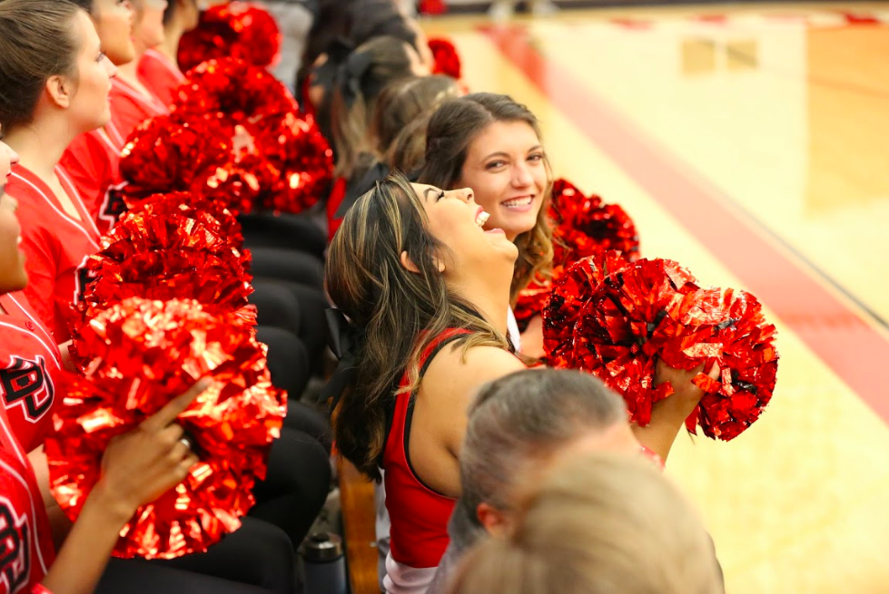 Members+of+the+Biola+Spirit+Program+cheer+during+the+game+against+Asuza+Pacific+University+on+Dec.+15.