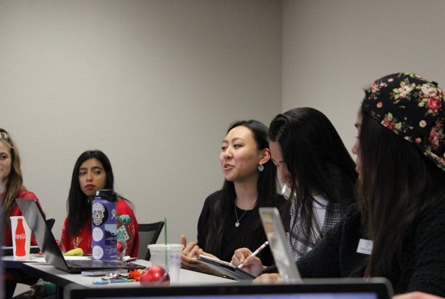 Vice President of Diversity Mindy Kim talks during a Student Government Association meeting in Fall 2018.