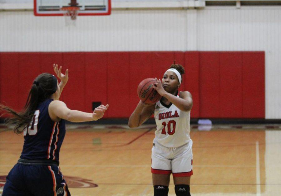 #10 student prepares to shoot a basketball