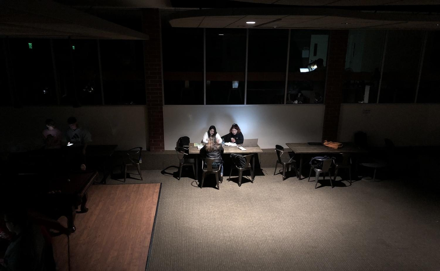 Students huddle under emergency lighting in the SUB during a power outage on campus on Jan. 16, 2018.