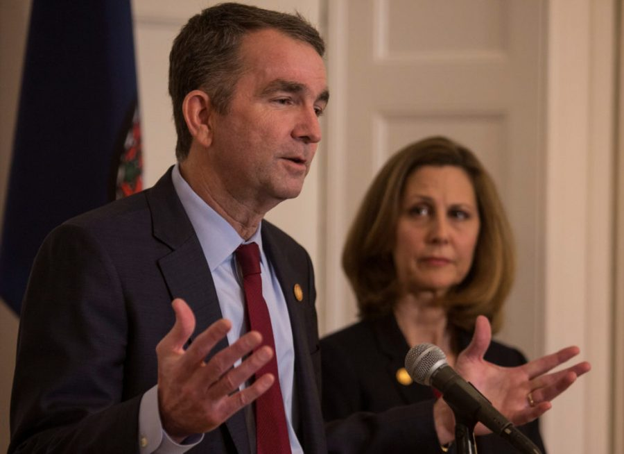 Virginia Governor Ralph Northam, accompanied by his wife Pamela Northam announces he will not resign during a news conference Richmond, Virginia, U.S. February 2, 2019. REUTERS/ Jay Paul