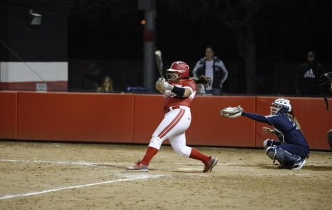 Freshman outfielder Sicili Brittingham takes a swing during Biola's doubleheader against Hope International on Feb. 12. The Eagles lost both games to the Royals.