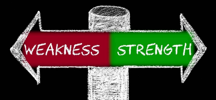 Image shows to arrows pointing in different directions, one saying weakness and the other saying strength.