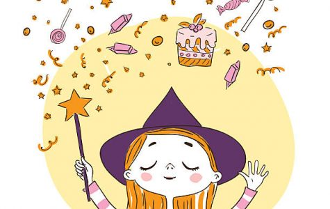 Cute little witch wants to conjure magic wand a lot of sweets.