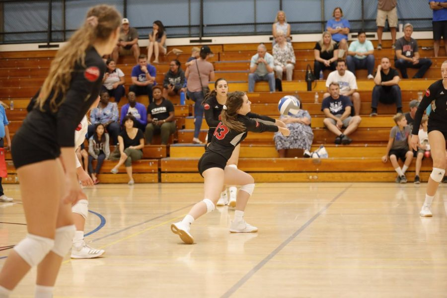 Senior libero Kaitlin O'Brien goes in for the ball.