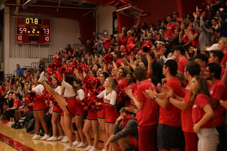 Biola students celebrate during the 2018 Biola v.s. Azusa Pacific game.