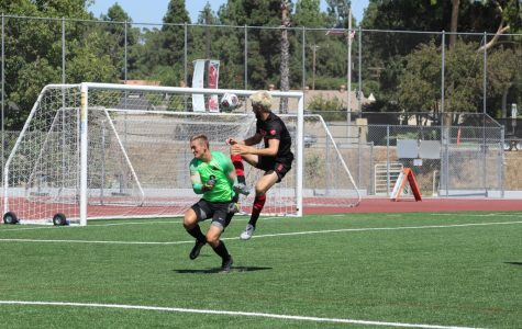 Senior Forward Hunter Finnegan, scores Biola's second goal against Northwest Nazarene on September 7, 2019.