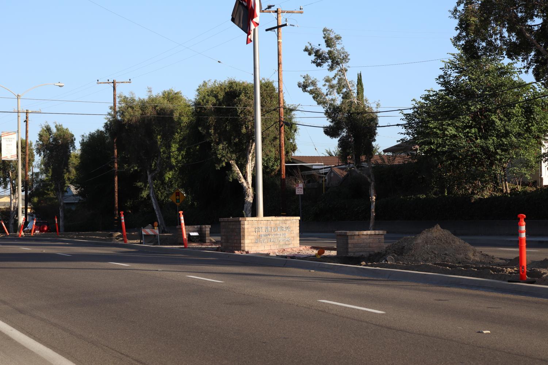 Road work located on La Mirada Boulevard, next to Biola University.