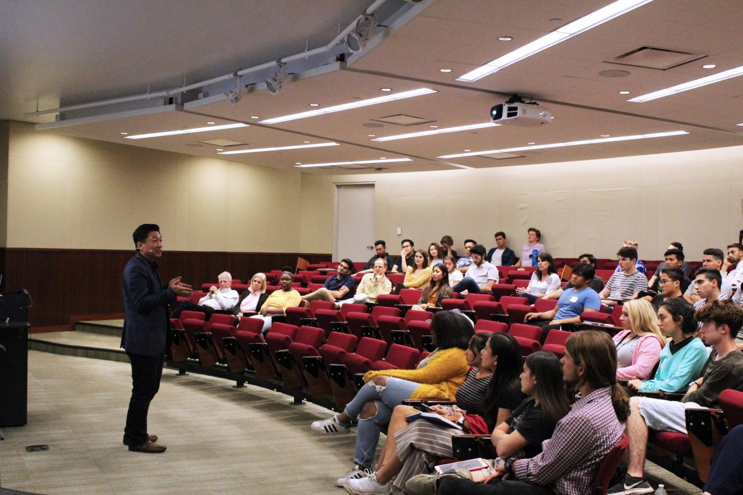 Danny Kim, Founder and CTO of FullArmor Corp speaks to Biola students during the 2019 Startup competition kickoff.
