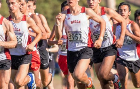 Biola men's Cross Country race their way to the end of the course.