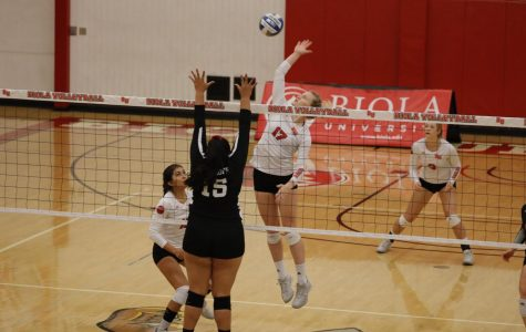 Junior middle blocker Bekah Roth spikes the ball.