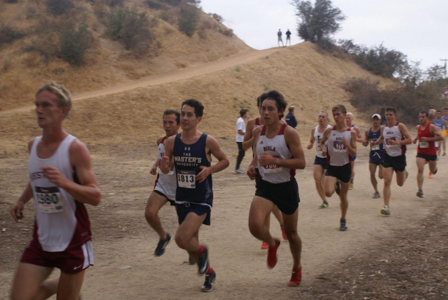 Men of the Biola Cross Country team race their way to the finish line.