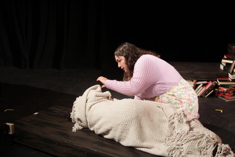 Senior theatre major Emily Delagda on stage in
