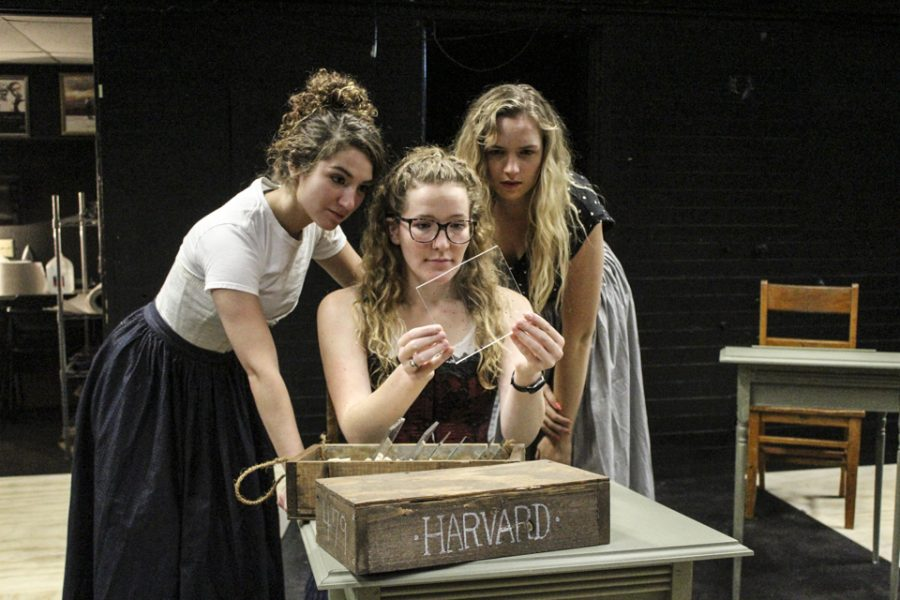 Freshman theatre major Allyson Hoy, junior theatre major Hannah Hines and senior theatre major Lexi Pasch rehearse for