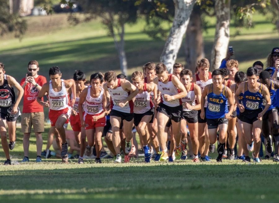 Men's cross country starts their 10k race.