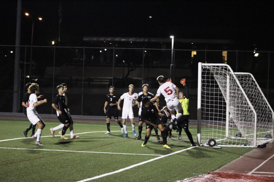 Biola men's soccer team scores their first goal in their game against Hawaii Pacific University on October 28, 2019.