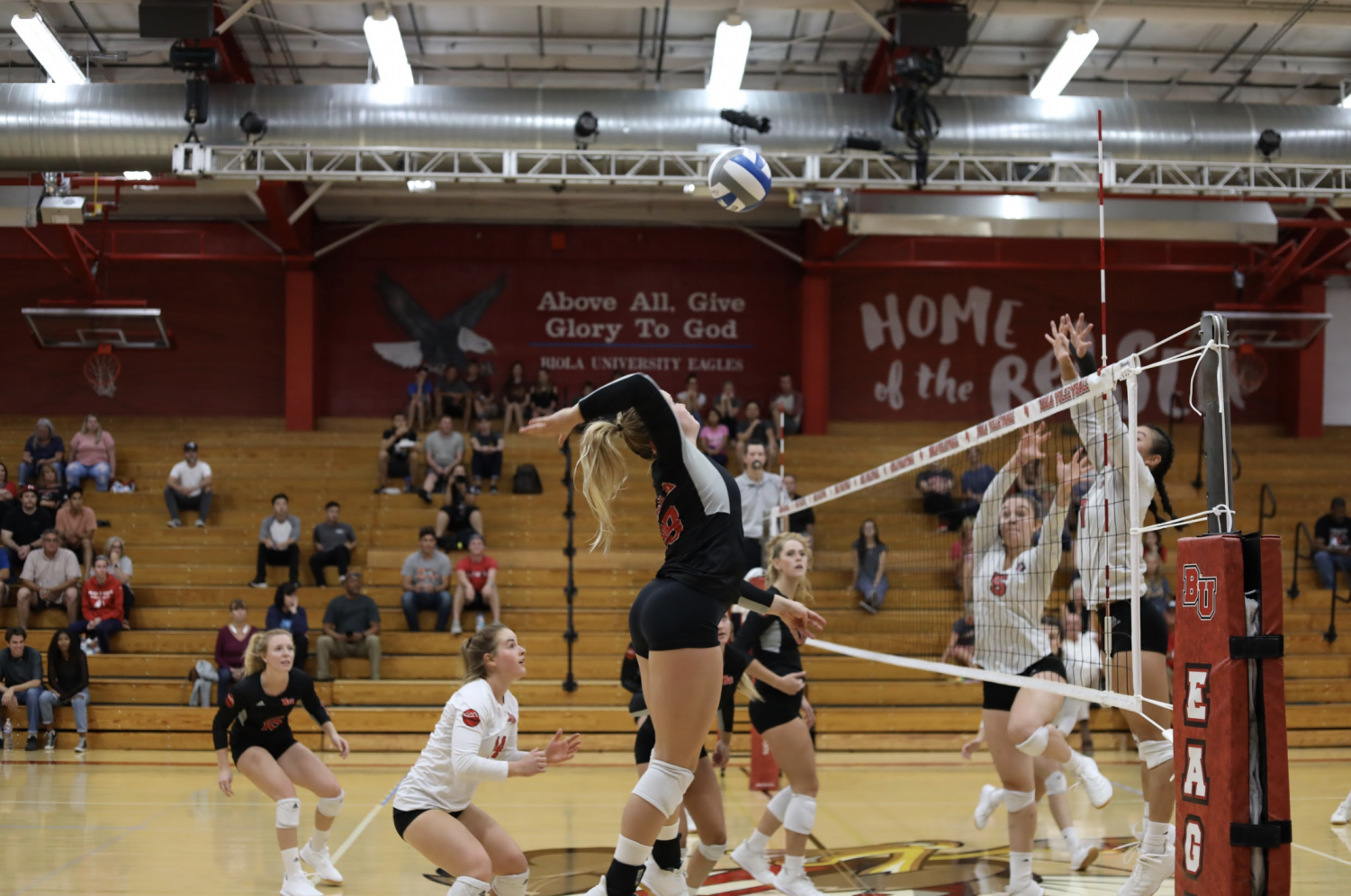 Biola Volleyball player jumps to spike the ball.