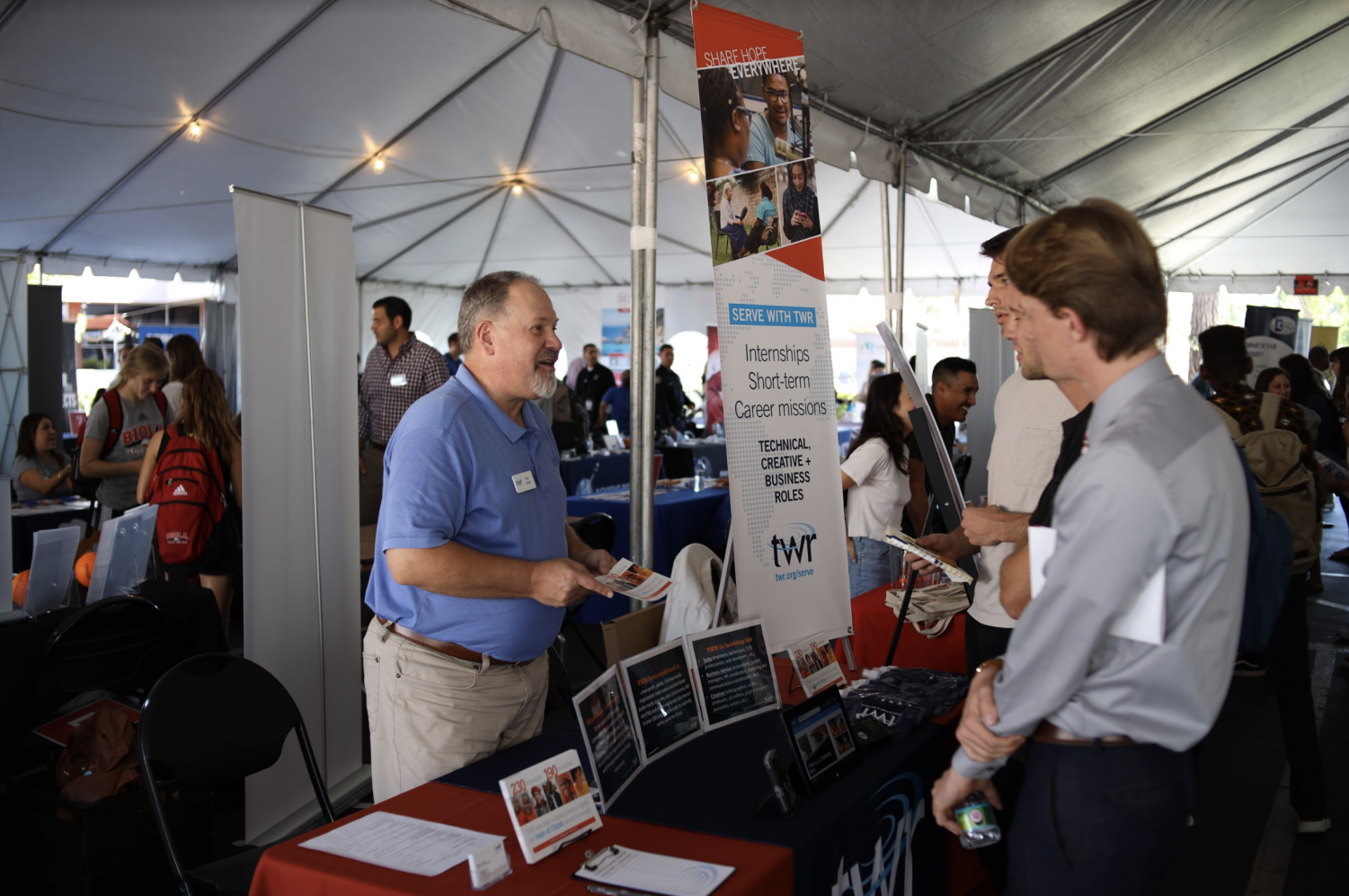 Students look at a variety of booths for jobs and internships at the 2019 Biola Career Expo.