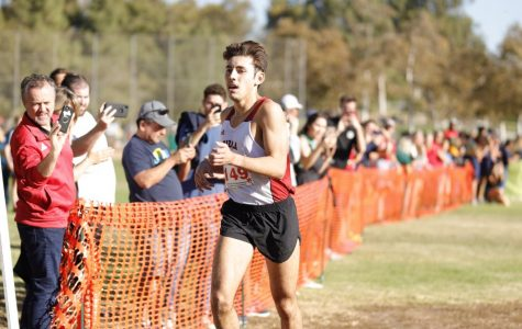 Senior long distance runner Gabe Plendcio strides through the PacWest Championships where he won the individual championship for the second year in a row.