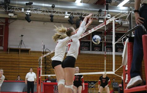 Biola's women's volleyball team blocks a shot from their opponent University of Hawaii Hilo on November 11th, 2019.