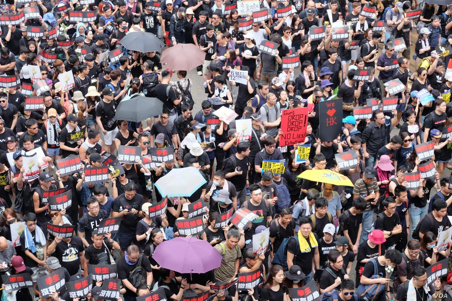 People in Hong Kong protest in fear of Chinese oppression.