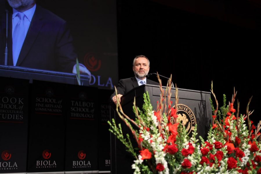 President of Biola University, Dr. Barry Corey, speaks at the Spring 2020 convocation chapel.
