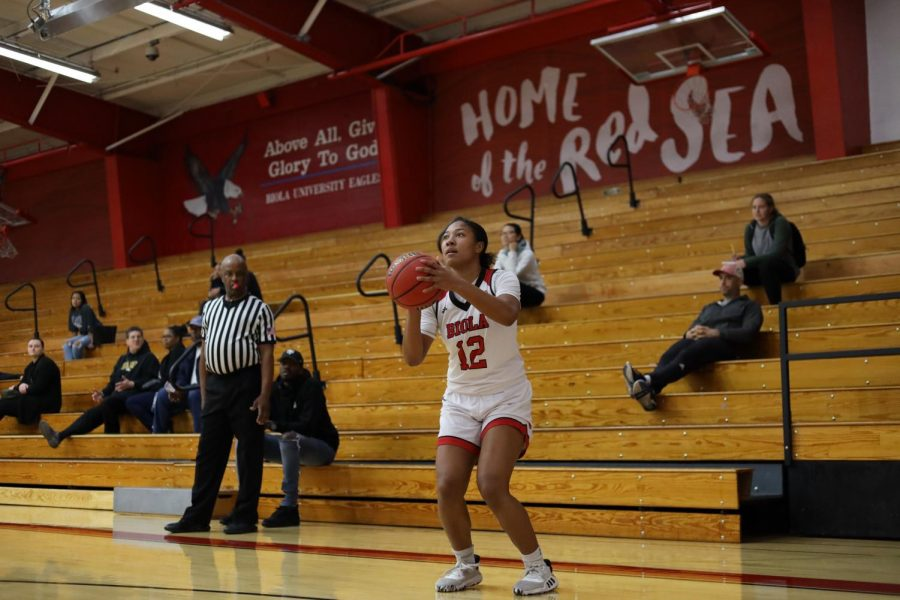 Sophomore guard Aysia Johnson  gets ready to shoot the ball to the basket.