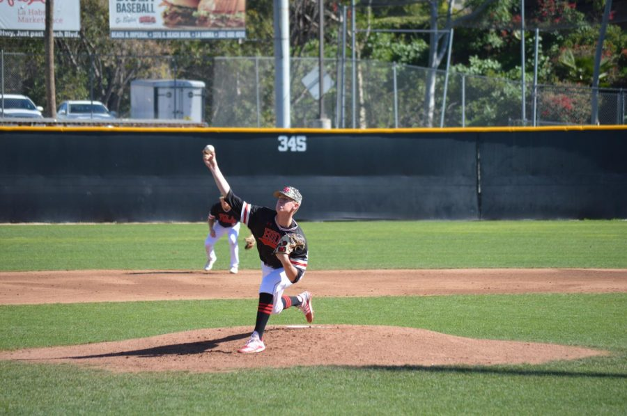 Right-handed pitcher  Brayden Englert battles California State University, San Bernadino.