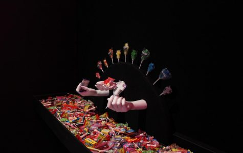 The museum features a colorful candy shop titled
