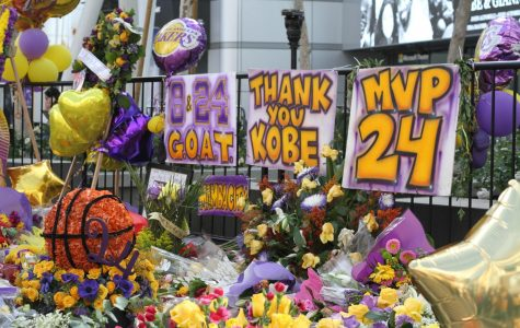 Thousands celebrated Bryant's legacy at the LA Live area, where the streets were flooded with flowers and balloons in Lakers purple and gold.