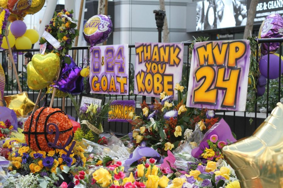 Thousands+celebrated+Bryant%27s+legacy+at+the+LA+Live+area%2C+where+the+streets+were+flooded+with+flowers+and+balloons+in+Lakers+purple+and+gold.+