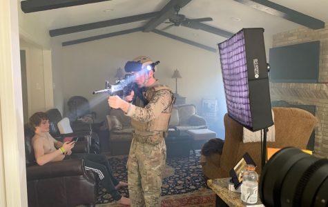 """[Left to right] Ben Skinner and Britt Skinner act in cinema and media arts major Graham Skinner's short film """"Rookie."""""""