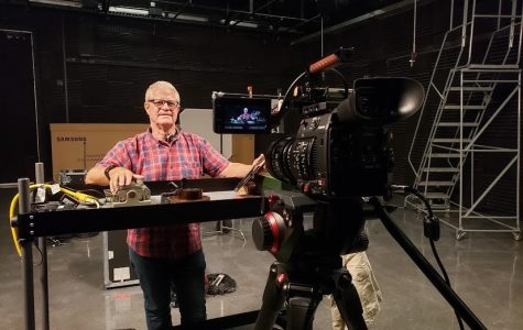 Professor John Schmidt going live from Studio A. Photo Courtesy of Joshua Kozycz.