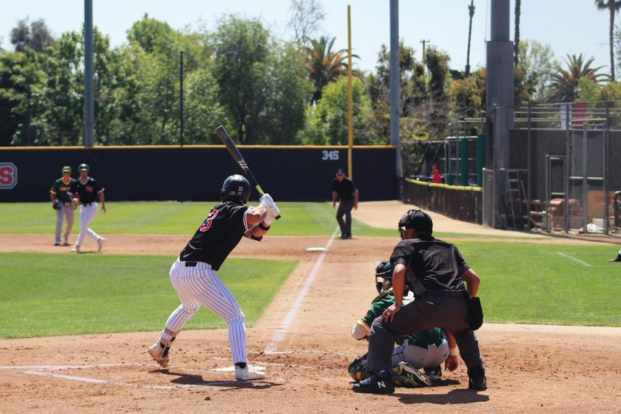 Junior Ryan Gallegos at the bat against Point Loma Nazarene University.